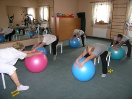 Group exercise in a gym